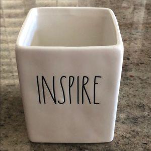 "Rae Dunn ""INSPIRE"" White Square Ceramic Container"